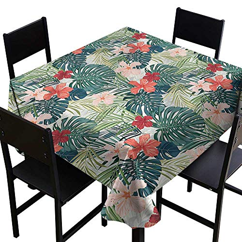 (home1love Leaf Waterproof Table Cover Nature Crepe Ginger Flower Dinner Picnic Table Cloth Home Decoration 36 x 36 Inch)