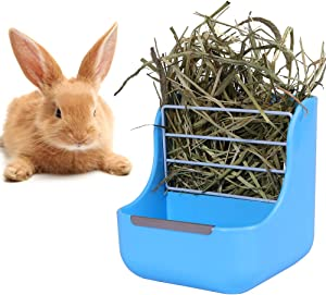 Zdada 2 in 1 Blue Hay Feeder Rack for Rabbit,Hay-Food-Bin-Feeder Bowls for Guinea Pig Chinchilla and Other Small Animals with The Gift of 1pc Triangle Towel and 1pc Bow Tie