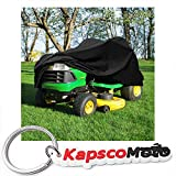 North East Harbor Deluxe Riding Lawn Mower Tractor Cover Fits Decks up to 54'' - Black - Water, Mildew, and UV Resistant Storage Cover + KapscoMoto Keychain
