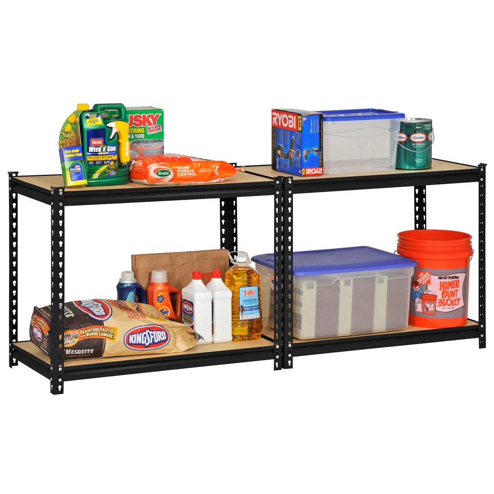 Edsal UR364AZ-BLK Steel Storage Rack, 4 Adjustable Shelves with Post Couplers and Plastic End Caps, 3200 lb. Capacity, 60'' Height x 36'' Width x 18'' Depth, Black