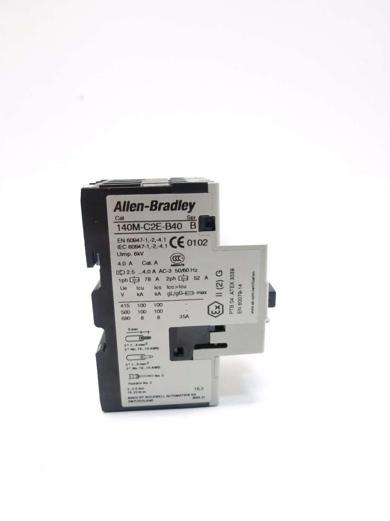 NEW ALLEN BRADLEY 140M-C2E-B40 SER B 3HP 2.5-4A AMP MANUAL MOTOR STARTER D512285 by Allen-Bradley (Image #3)