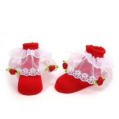 Belle Chaussettes pour Enfants Confortables Booties Chaussettes en Coton avec Dentelle pour 0-12 mois Bébé Chaussettes d'Anniversaire Photo Props Outfits (Rouge)
