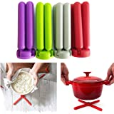 Kitchen Foldable Silicone Trivets Silicone Pot Holder Pot Pads - Red, Gray, Purple, Green - 4 Pack