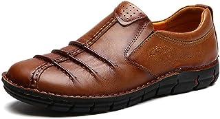 GHCX Schuhe Herren Martin Stiefel Herbst Retro Outdoor Atmungsaktiv Business Casual Lederschuhe Rutschfeste Mode Low-Top Echtes Leder,Light-Brown(B)-44