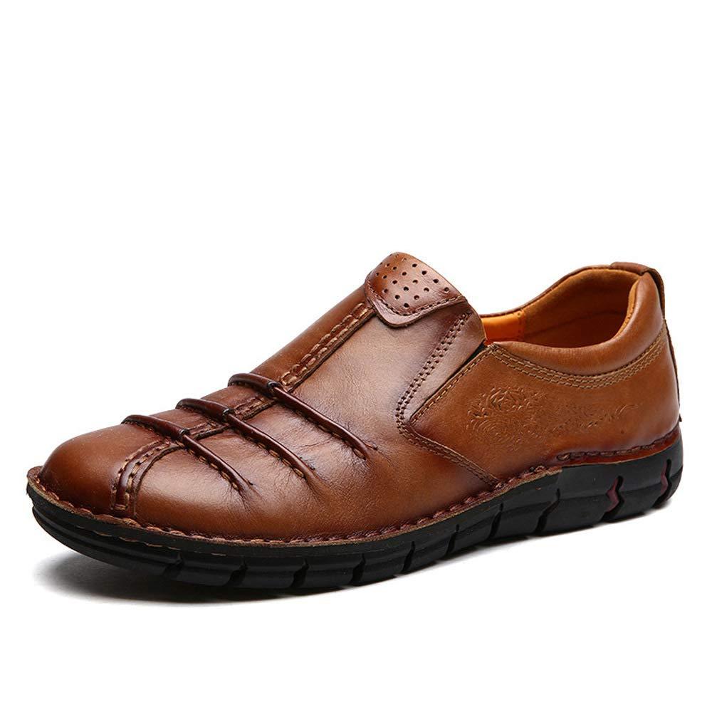WANG-LONG Schuhe Herren Martin Stiefel Herbst Retro Outdoor Atmungsaktiv Business Casual Lederschuhe Rutschfeste Mode,Light-braun(B)-42