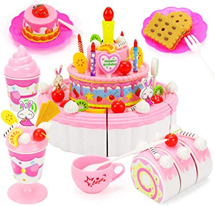 Stupendous Amazon Com Miklan Triple Layer Birthday Party Cake Pretend Play Funny Birthday Cards Online Overcheapnameinfo