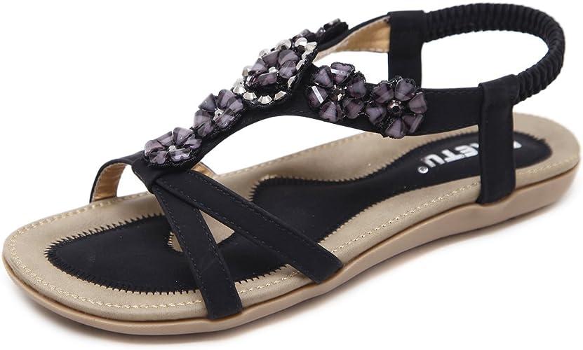 Sandalen Damen Sommer Bohemia Schuhe Outdoor Strand Sandaletten mit Blumen & Strass Gr.35 44