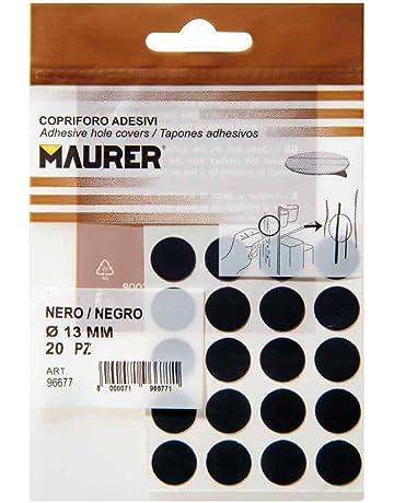 Maurer 5440104 Pack de 20 tapatornillos adhesivos, color negro