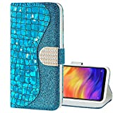 EnjoyCase Bling Case for Galaxy M20,Shiny Glitter Laser Pu Leather Diamond Magnetic Clasp Bookstyle Soft Tpu Inner Flip Wallet Case Cover for Samsung Galaxy M20