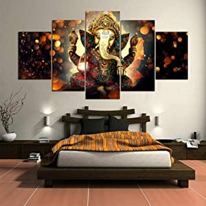 NHGBV Wall Art 5 Piece Canvas Ganesh Elephant Trunk God Print on Canvas 5 Pieces Artwork Modern Home Decoration Giclee Wooden Framed Stretched Ready to Hang Posters and Prints