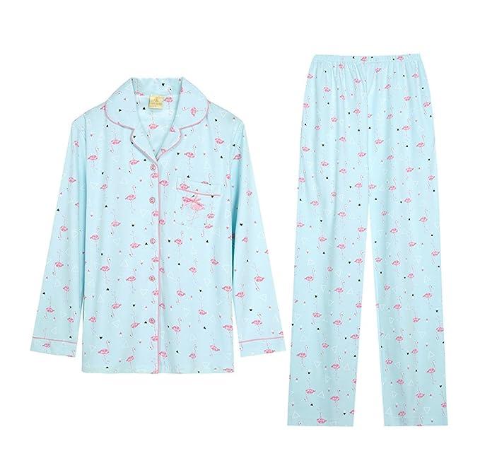 Amazon.com: Elegant cotton ladies pajamas cartoon long sleeves lapel bathrobe cardigan home clothing suit (Color : Blue, Size : S): Home & Kitchen