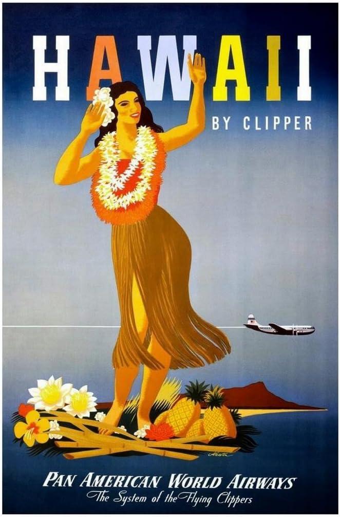 Hawaii by Clipper Hula Girl Vintage Travel Print Cool Wall Decor Art Print Poster 24x36