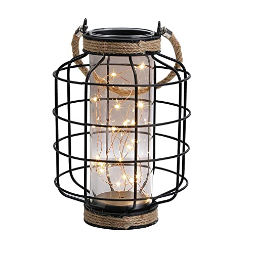 JHY Design Metal Cage LED Lantern Battery Powered,9.4 Tall Cordless Accent Light with 20pcs Fairy Lights.Great for Weddings, Parties, Patio, Events for Indoors Outdoors.