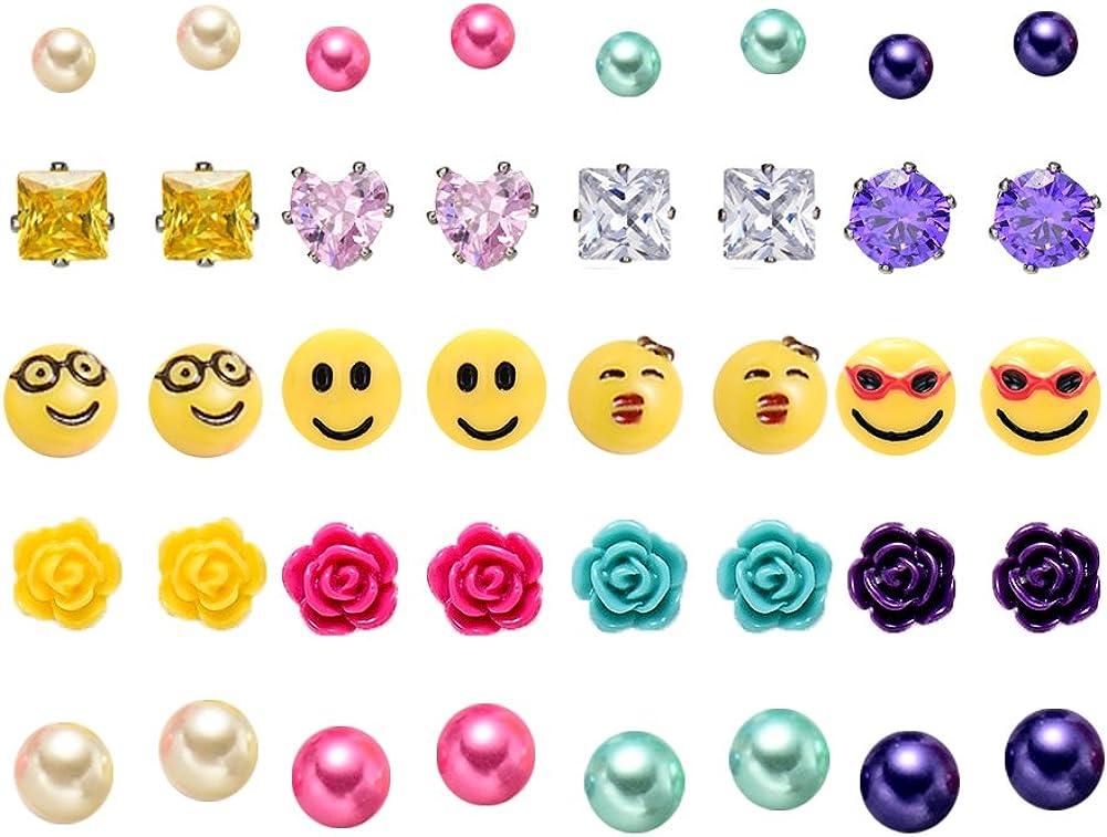 Juego de pendientes de bola de emoji para mujeres y niñas, hipoalergénicos, varios paquetes