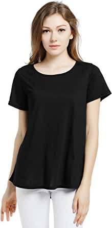 Blooming Jelly Women's Scoop Neck Short Sleeve Loose Wrinkle Viscose T Shirt Blouse Tops