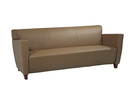 Exceptionnel Office Star Modern Leather Sofa With Cherry Finish Legs, Taupe