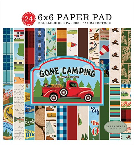 Carta Bella Paper Company CBGC85023 Gone Camping 6x6 Pad Paper, 6 x 6, Blue, Forest Green, red, Brown