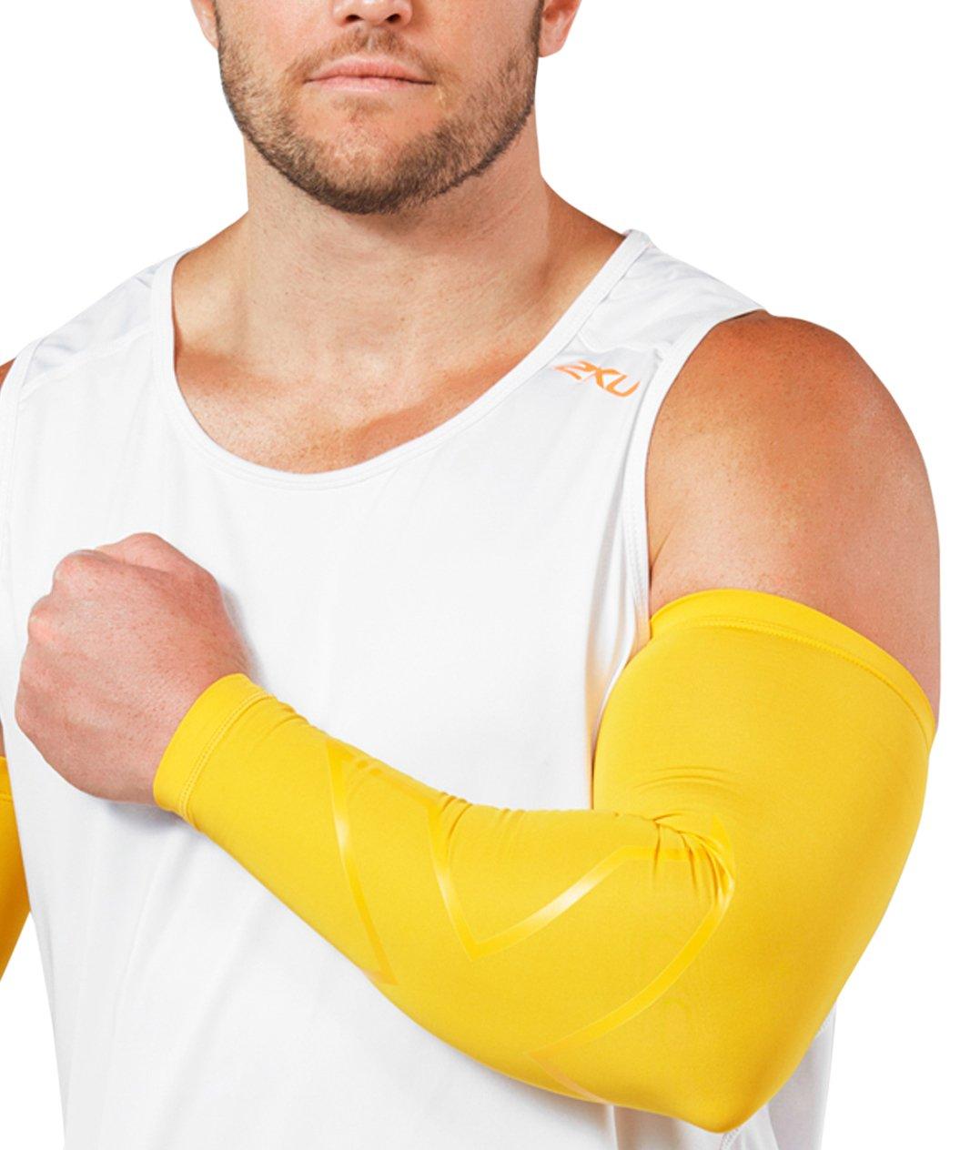 2XU Men's LKRM Compression Arm Guards, Gold, Medium