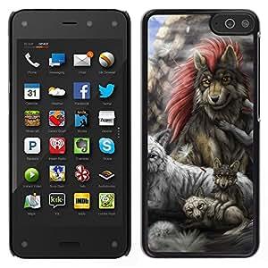 EJOY---Cubierta de la caja de protección la piel dura para el / Amazon Fire Phone / --Familia Lobo gris