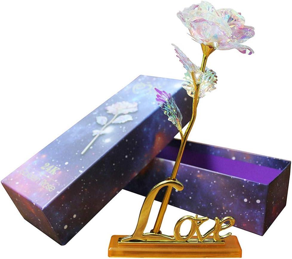 Youngine Colorido Rosa Flores Artificiales Hoja de Oro Rosa de 24 Quilates Regalos de Full Blossom para el Día de la Madre | Dia de San Valentin | Cumpleaños | Boda, con Caja y Base