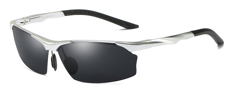 Aoronメンズサングラス偏光スポーツドライビングアルミマグネシウムフレームアイウェア100%UV400メガネゴーグル男性用(シルバーフレームブラックレンズ)   B07986XBCM