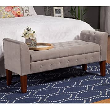 Delightful Kinfine USA Velvet Tufted Settee Storage Bench