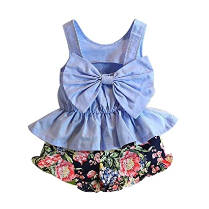 f96c280bc3e GBSELL 2PCS Kids Baby Girls Summer Clothes Back Bow Tops Shirt + Floral  Shorts Set (