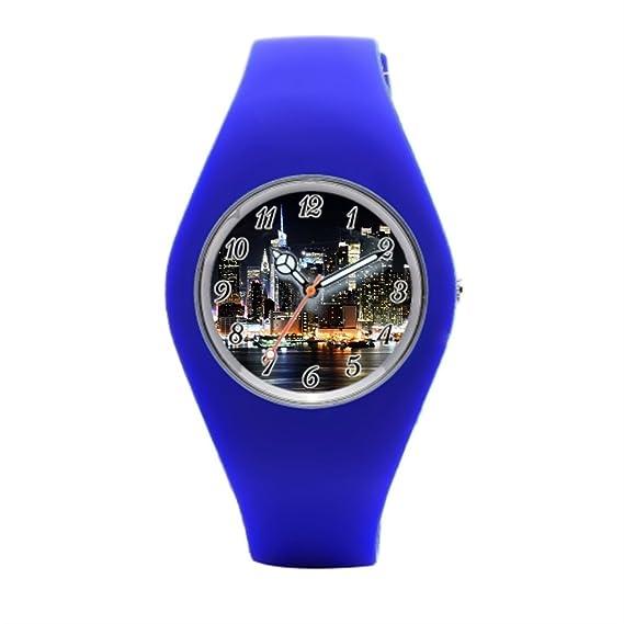 Reloj de pulsera banda hermoso Skyline de goma deporte relojes