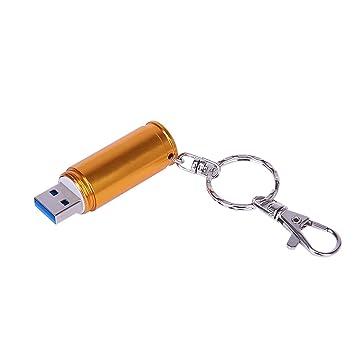 Shooo 32GB Metal Shining 3D Golden Bullet Memoria USB 3.0 Tarjeta de Memoria with Keychain