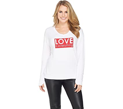 Peace Love World Rib V Neck Knit Long Slv Printed Front Top White L New