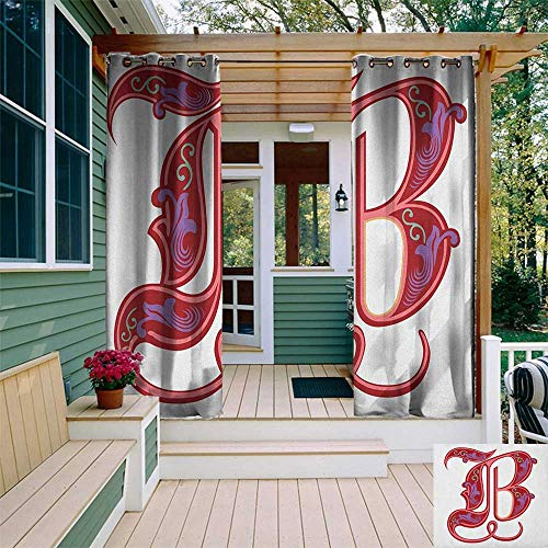 leinuoyi Letter B, Outdoor Curtain Extra Wide, Colorful Mellow Design Capitalized Symbol B Second Letter Alphabet Abstract Gothic, Fashions Drape W120 x L108 Inch Multicolor