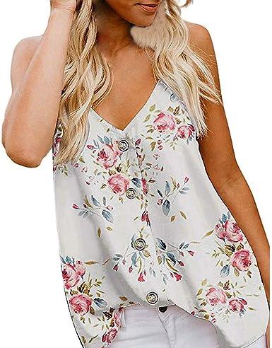 Proumy Camiseta de Tirantes Mujer Camisa Floral Blusas Estampada de Flores Ropa Cuello con Botón V sin Manga Chaleco Sexy Tank Top Elegante de Talla Grande Camisa Casual Vestido Elástico Verano: Amazon.es:
