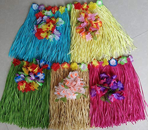 Hawaiian Luau Hula Skirts 5 Colors with Headband Leis and Wrist Leis for Girls Birthday Party ()