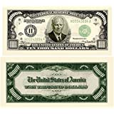 "Set of 10 Bills-$10,000.00 ""Authentic Looking"" Bill"