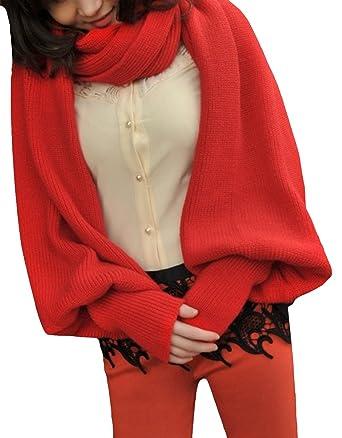 0cbd8167e368 Y-BOA 1PC Unisexe Multifonction écharpe Châle Gants Pulls en coton crochet  épais souple Long