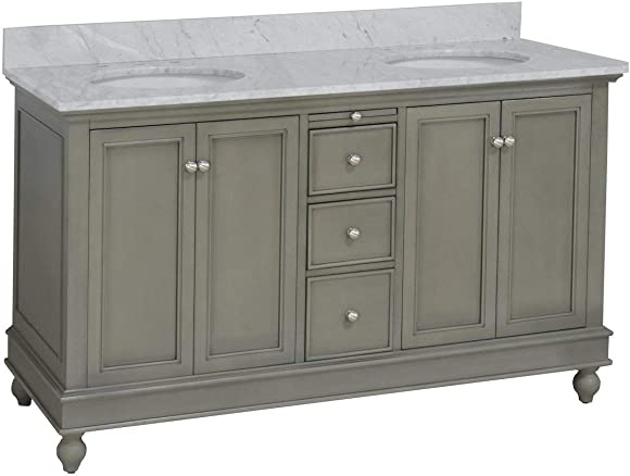 Bella 60-inch Double Bathroom Vanity Carrara/Weathered Gray : Includes Weathered Gray Cabinet