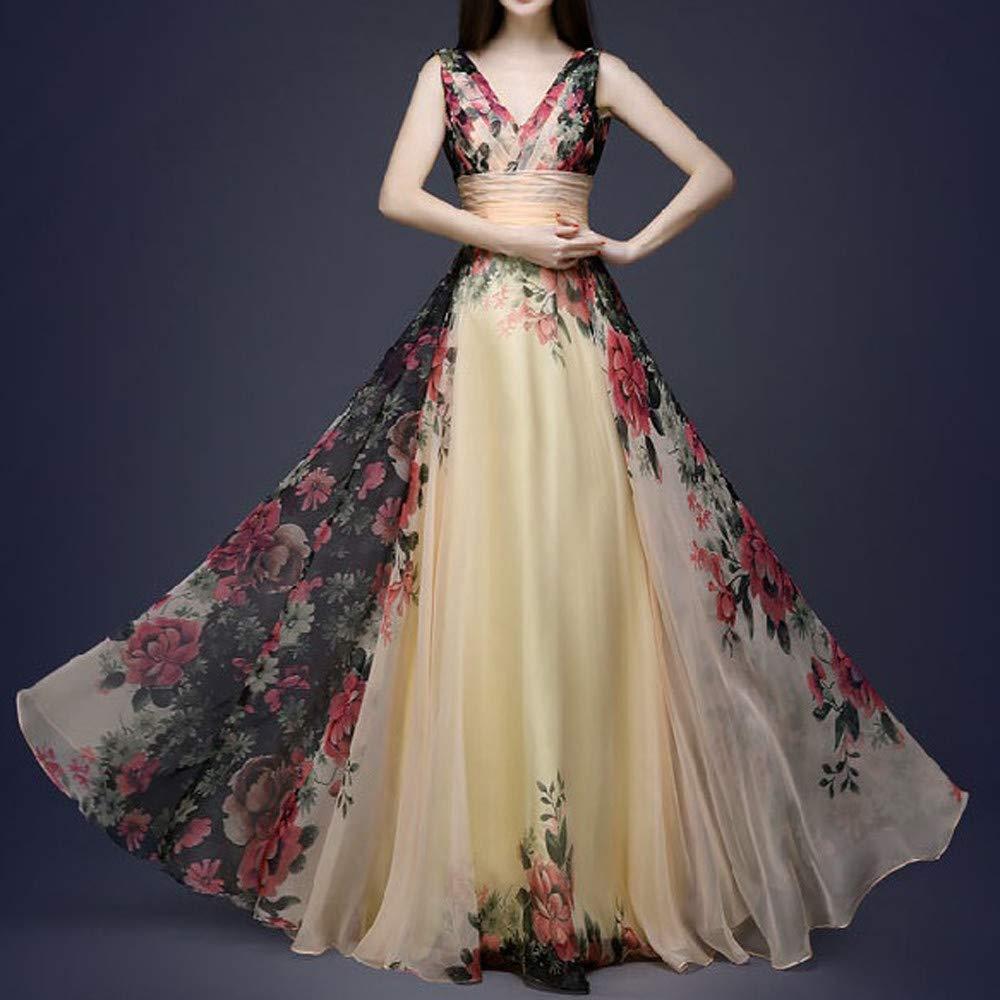 ❤ Vestido de Fiesta Mujer Invierno, Vestido de cóctel Maxi Largo Largo sin Mangas de la Cintura Alta V de la impresión de la Moda de Las Mujeres ...