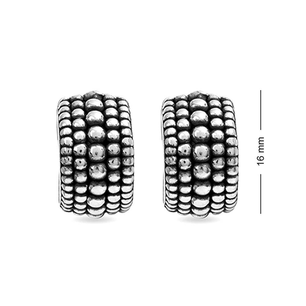 LeCalla Sterling Silver Jewelry Half Round Antique Stud Earring for Women