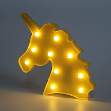 Bluelans® Cute Unicorn Shaped Animal Light Table Lamp 3D Marquee ...