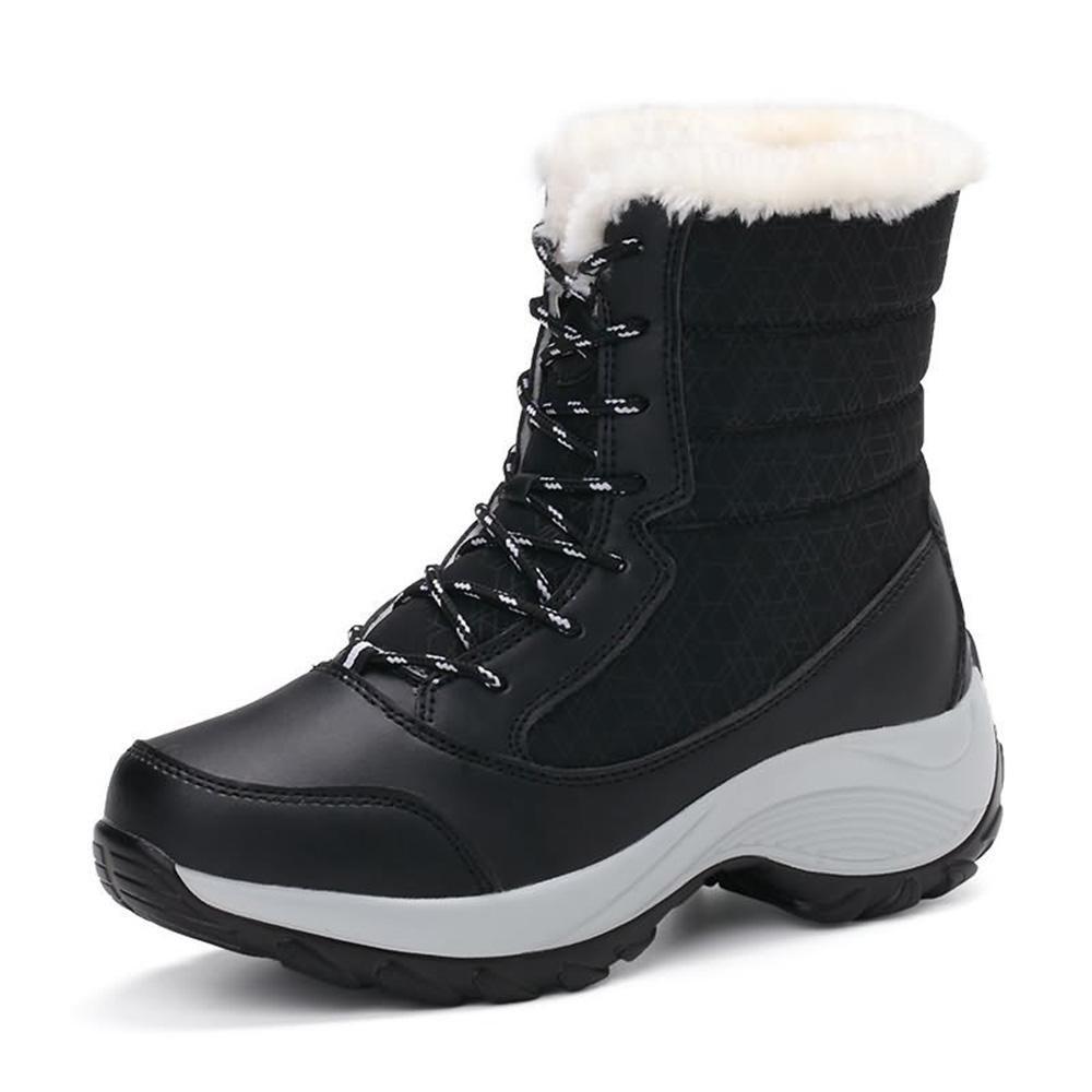 Frauen Stiefel Schnürstiefel Hohe Stiefel Plus Kaschmir warme Winter Plateauschuhe Schneeschuhe Schneeschuhe Plateauschuhe , 36 - afd04e