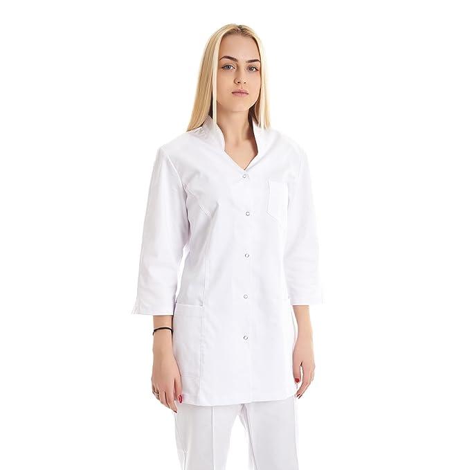 Vest Albus Bata de Laboratorio Sanitario Mujer Estudiantes Ciencia (XS)