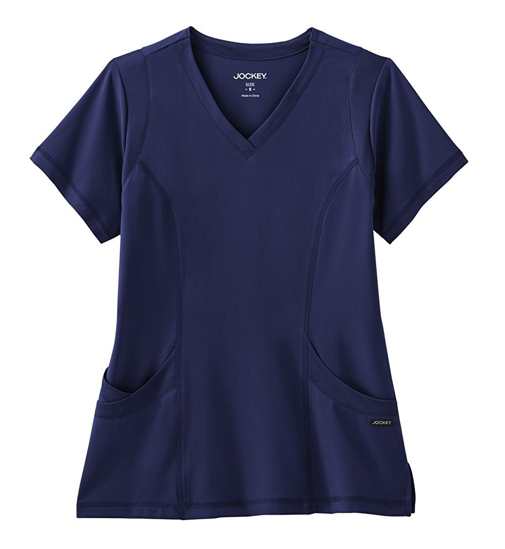 Modern Fit Collection By Jockey Women's Mesh Trim V-Neck Solid Scrub Top XX-Large New Navy