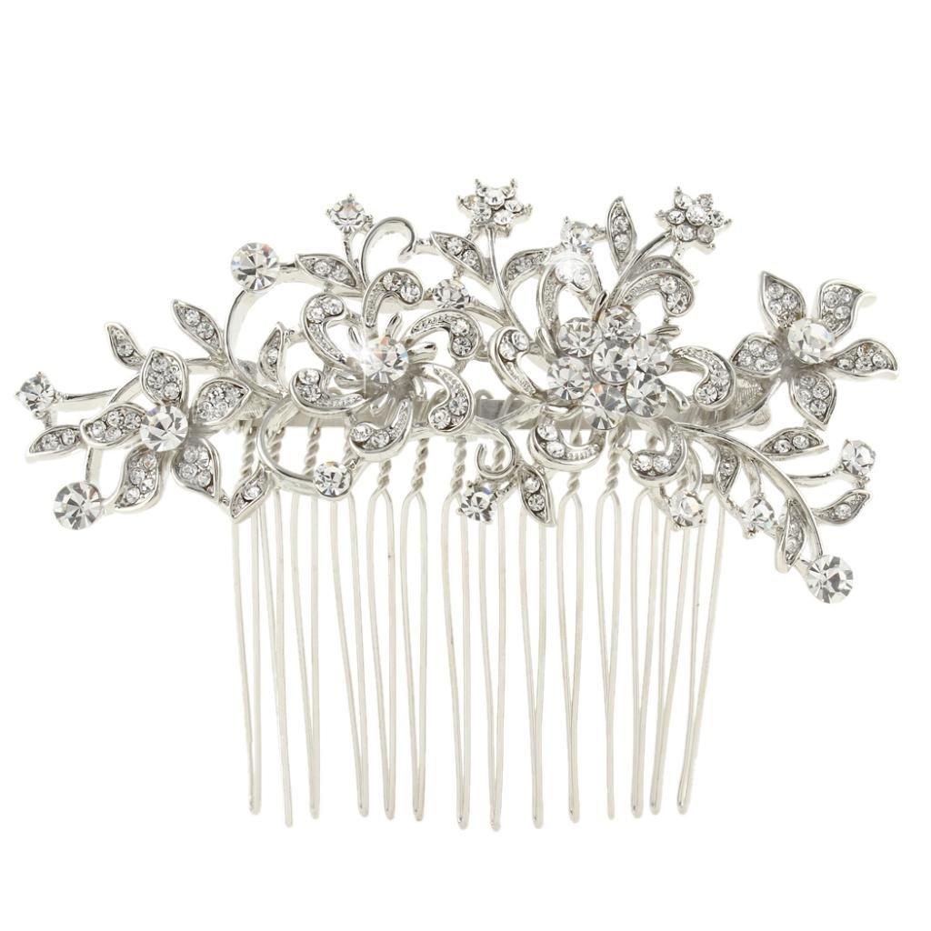 Ever Faith - Peigne à cheveux Autrichien Cristal Fleur Art Deco Mariage N03785-1