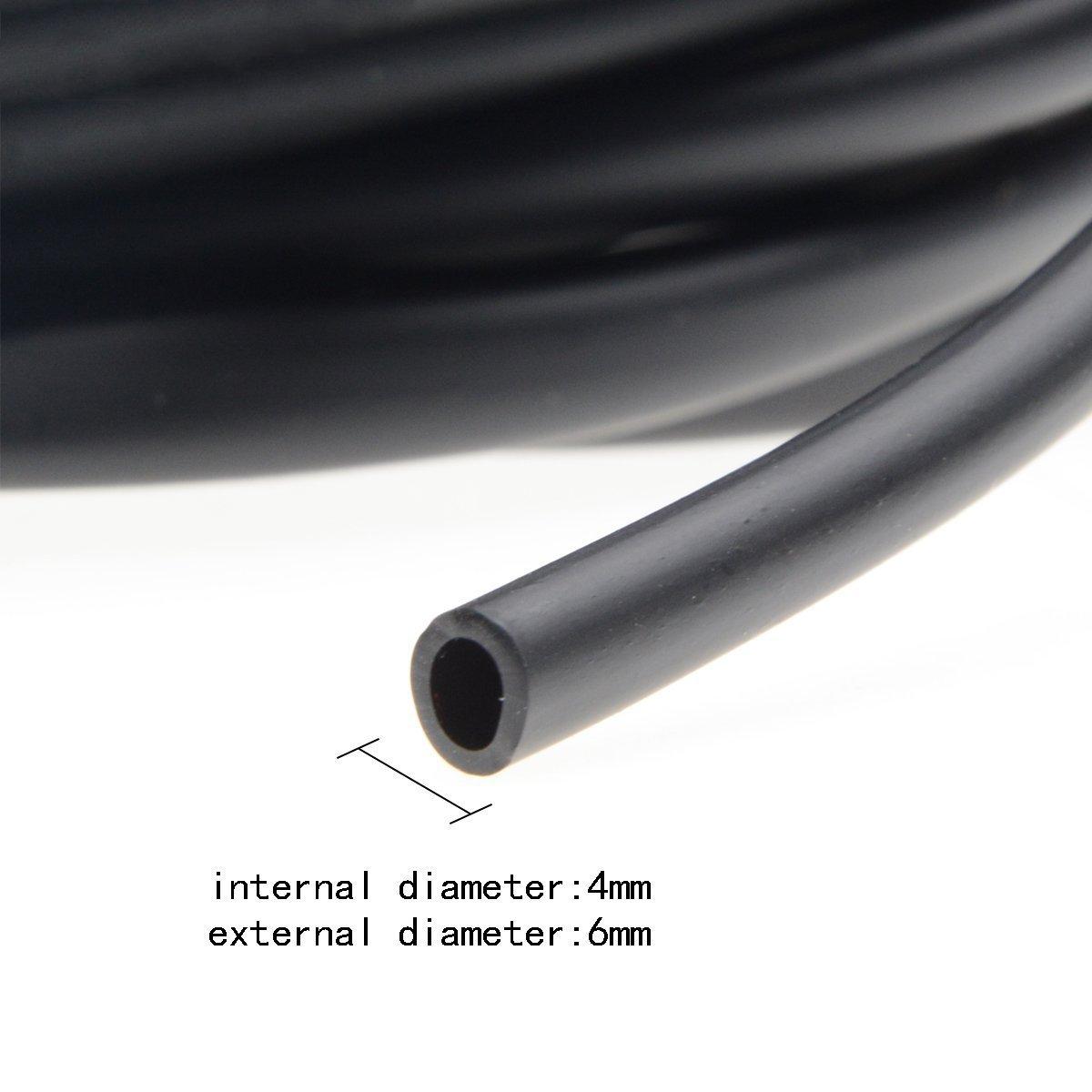 Saim 50 Feet Aquarium Airline Tubing Air Pump Accessories with 10 Pcs Suction Cups,Black