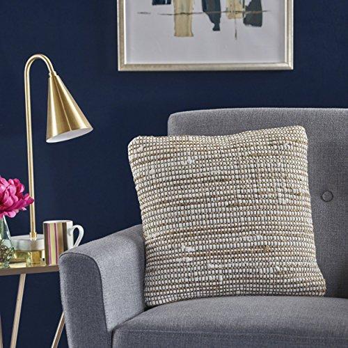 Great Deal Furniture 301692 Vanda Natural and Ivory Hemp and Cotton Chindi Pillow