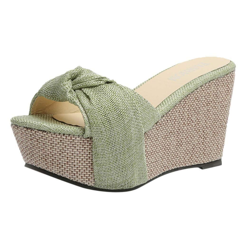 Gobling Summer Sandals for Women Fashionable Anti-Slip Platforms Sandals Minimalism Weaving Cozy Open Toe Outdoor Sandals (Color : Green, Size : 6 M US)