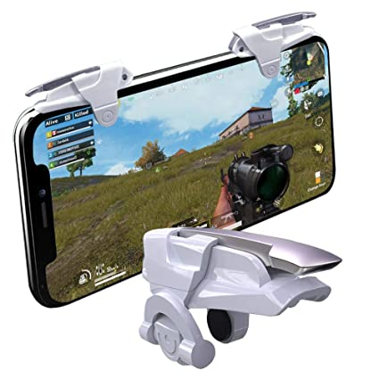 Mobile PUBG Triggers, YOUNI Cell Phone Game Controllers - Sensitive Shoot  and Aim Fire Buttons Shooter Handgrip for PUBG Mobile - 1Pair(L1R1) (White)