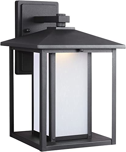 Sea Gull Lighting 8903191S-12 Hunnington LED Outdoor Wall Lantern with Etched Seeded Glass Panels, Black Finish