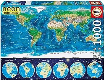 Educa 167601000neon world map puzzle by educa amazon neon world map puzzle by educa gumiabroncs Images
