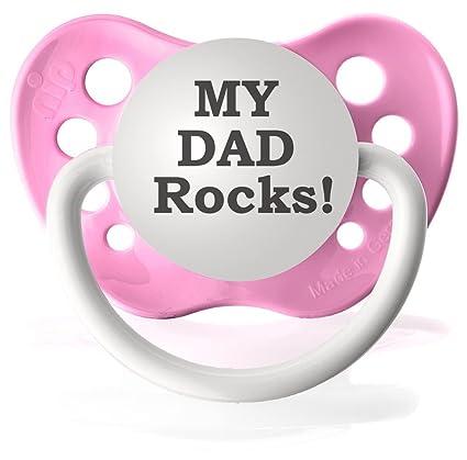 Amazon.com: My Dad ROCKS chupetes Chupete personalizado en ...